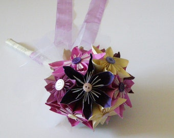 Free Shipping! Paper Flower Bouquet / Paper Wedding Bouquet / Bridal Bouquet / Handmade Flowers / Paper Bridal Bouquet / Kusudama Bouquet /