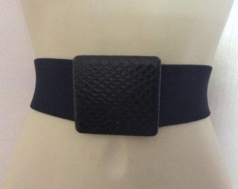 Vintage Black elastic Belt black Cinch Stretch Belt