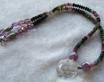 Lovely Crystal and Tanzanite  Bead Necklace