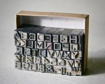 Vintage Letterpress Type Bank Gothic 18pt. Capitals and Numbers and Punctuation for Stamping Printing and Clay Stamping