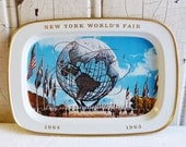 Vintage New York World's Fair Tin Cocktail Tray - Unisphere - Mid-Century 1960s - Great Color and Graphics - Stocking Stuffer