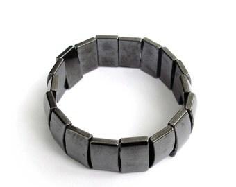 15mm x 10mm Black Stone Beads Bracelet Stretch  T3271