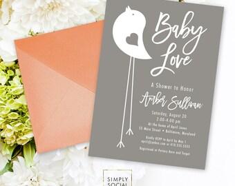 Grey Bird Shower Invitation - Grey and White Little Bird Baby Shower Bird Invitation Gender Neutral Printable Invitation