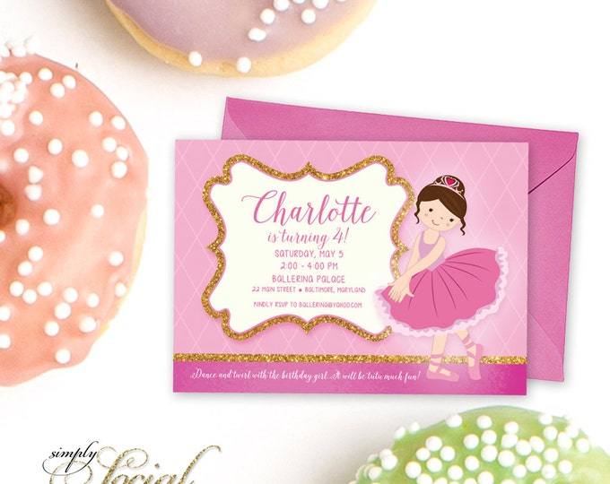 Ballet Birthday Party Invitation - Pink and Glitter Ballerina Printable Invitation
