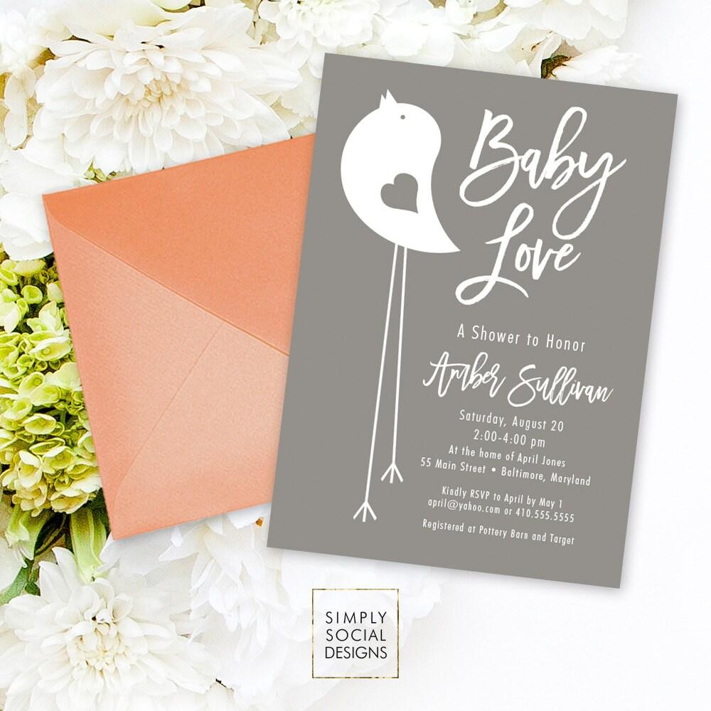 Grey Bird Shower Invitation - Grey and White Little Bird Baby ...
