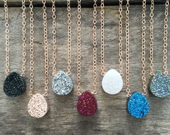 Druzy Necklace, Rose Gold Druzy Necklace, Druzy Quartz Jewelry, Drusy Necklace, Rose Gold Necklace, Bridesmaid Jewelry, Bridesmaid Thank You