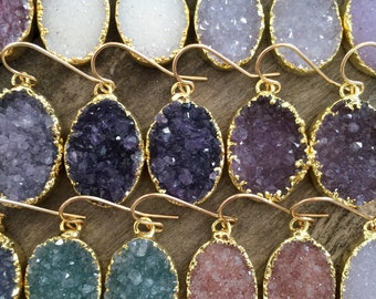 Druzy Earrings, Druzy Quartz Jewelry, Gemstone Earrings, Gold Earrings, Wedding Earrings, Bridesmaid Jewelry, Raw Stone Earrings