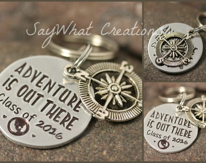 Adventure Is Out There Graduation Gift Key Chain with Compass