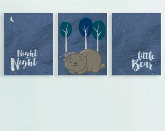 Night Night Little Bear, Art Print, Bedroom Art, Nursery Art, New Baby Art