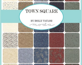 "Moda Town Square Charm Pack, (42) 5"" Quilt Fabric Squares Holly Taylor Quilting Sewing"