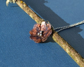 Mixed Metal Copper and Sterling Silver Wild Rose Pendant