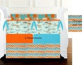 Custom Aqua / Orange crib bedding for Lindsey