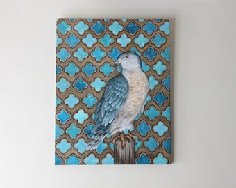 Cooper's Hawk with Turquoise Pattern Fine Art Original Painting