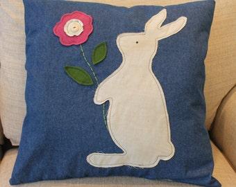 Primitive Bunny Rabbit Spring Easter Pillow
