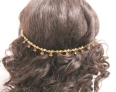 Gold Wedding headpiece,Gold Bridal hair accessory,brown Bridal hair chain,Wedding hair chain,Bridal hair jewelry,Wedding hair clip,Bridal