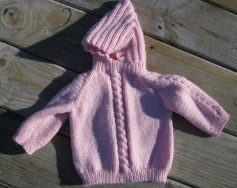 infant hooded sweater with back zip 0-6 month