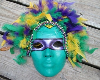 green purple and yellow, Mardi Gras Mask, vibrant colors, hand painted details, halloween mask, party mask, carnival mask, masquerade mask,