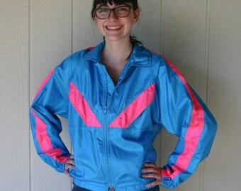 Vintage Dolfin International Jacket - Hot Pink - Electric Blue