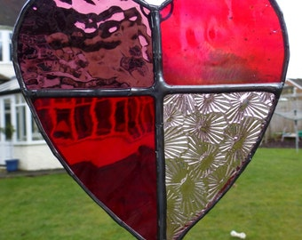 Stained Glass Red Love Heart Light Catcher Sun Cather Valentine