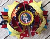 NEW ITEM Boutique Baby Girls Layered Wonder Woman Hair Bow Wonder Woman Hair Clip Wonder Woman Birthday Super Hero Hair Bow Wonder Woman