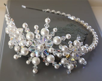 PEARL  SNOWFLAKE  HEADBAND with Swarovski Crystals and Pearls, Winter Wedding, Wedding Side Headband, Hair Accessory, Iridescent,
