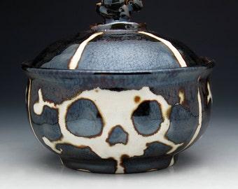 Skull Sugar Bowl, Skull & Crossbones Sugar Bowl in Metallic Bronze Glaze