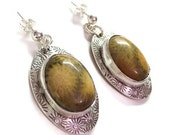 ON SALE Oval yellow tan fossil coral and silver drop earrings