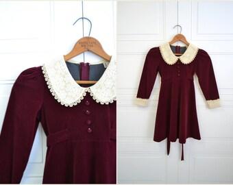 1970s Burgundy Velvet Child's Dress