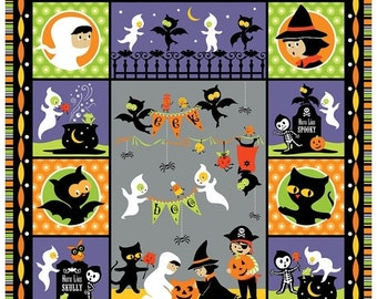 """ON SALE Riley Blake Halloween The Costume Clubhouse Collection - Gray Panel 36"""" x 44"""""""