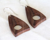 triangle drop - walnut and sterling silver earrings - natural wood earrings