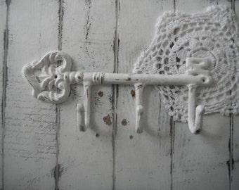 white key hook shabby decor cottage chic key holder leash holder tea towel hook light clothing hook trio hook scarf hook french country