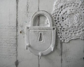 key hook cottage decor distressed hook white hook turquoise hook shabby decor key holder towel holder jewelry hook metal hook padlock style