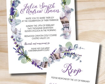 Rustic Feather, Eucalyptus and Lavender Wedding Invitation and Response Card Invitation Suite