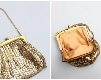 vintage post WW2 Whiting & Davis gold mesh handbag - prom purse / gold frame and metal mesh purse / vintage bride - gold Gatsby handbag