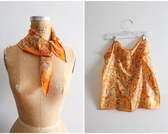 vintage 60s Vera orange silk scarf - vegetable garden print scarf / Vera Neumann signed scarf - 60s novelty print scarf / veggie print - bug