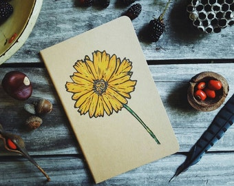 Yellow Coreopsis Wildflower Moleskine Notebook Journal Handcarved Small Hand Colored Gardener Spring Flower Sister Gift Present Women Spring