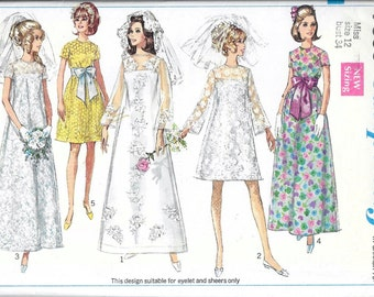 Vintage 1960s Simplicity 7639 A-Line Dress Bridal, Wedding, Bridesmaid or Evening Sewing Pattern Size 12 Bust 34