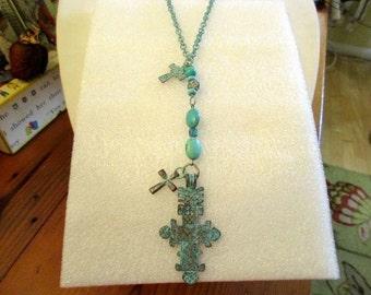 Verdigras MEDIEVAL Cross/Crucifix Rustic MYKONOS Pendant, Genuine TURQUOISE, 2 Cross Charms on Long Verdigras Over Copper Chain Necklace