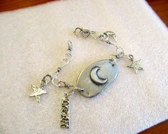 """Delightful Artisan Fine PEWTER Embossed Moon Focal w/Artisan STERLING Silver Twisted Links & 2 Star, 1 Moon, 1 """"Dream"""" Tag Charms Bracelet"""