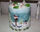 HUGE 48 oz TOASTED MARSHMALLOW Scented Primitive Winter Wonderland Snowman- Winter Birds- Pine Tree Holiday Christmas Crock Candle- Only 1