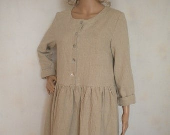 washed linen dress long sleeve plus size baby doll dress buttoned up natural linen dress made to order