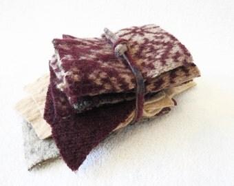 Destash Wool Scraps BURGUNDY & BEIGE Coordinating Felted Sweater Wool Scrap Pack Wool Pieces Fabric Destash by WormeWoole