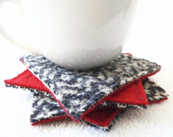 Wool Coasters Nordic RED & CHARCOAL GREY Gray Coasters Recycled Mug Rugs Felted Wool Coasters by WormeWoole