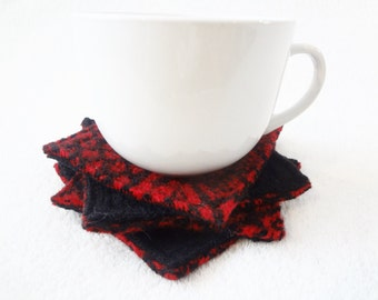 Upcycled Wool Coasters Nordic RED & BLACK Coasters Recycled Mug Rugs Felted Wool Fair Isle Ecofriendly Kitchen Home Decor by WormeWoole