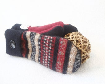 Felted Wool Mittens RED & TAN with BLACK Upcycled Fair Isle Sweater Gloves Fleece Lined Winter Accessory for Women by WormeWoole