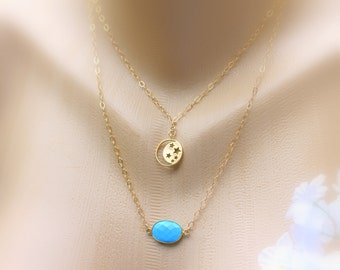 Turquoise Gold Necklace, Stars/Moon Necklace, Layered Necklace, Pendant Necklace, Double Strand Necklace, Bridal Jewelry, Wedding Necklace