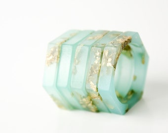 stacking rings size 9 | thin hex eco resin ring | seafoam green with gold leaf flakes