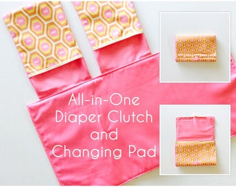 READY TO SHIP All-in-One Diaper Clutch and Changing Pad, Geometric Print/Pink diaper clutch and changing pad