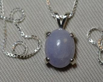 "4.44 Carat Lavender Jade Cabochon Pendant On 16"" Sterling Silver Necklace"