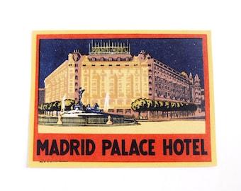 Vintage Madrid Palace Hotel luggage label, original unused paper ephemera, decal, sticker, baggage, Spain, red, yellow, vacation travel